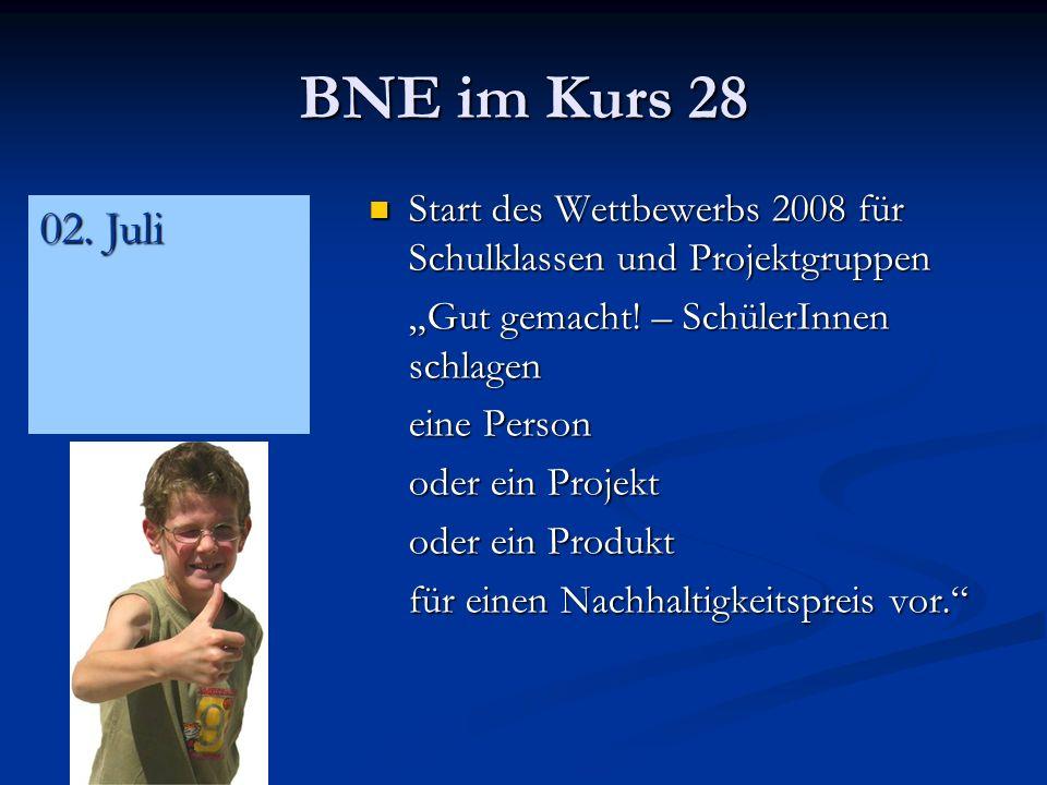 """BNE im Kurs 28 Start des Wettbewerbs 2008 für Schulklassen und Projektgruppen. """"Gut gemacht! – SchülerInnen schlagen."""