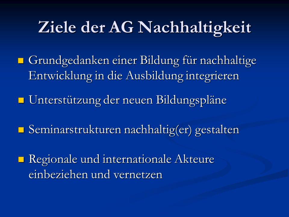 Ziele der AG Nachhaltigkeit