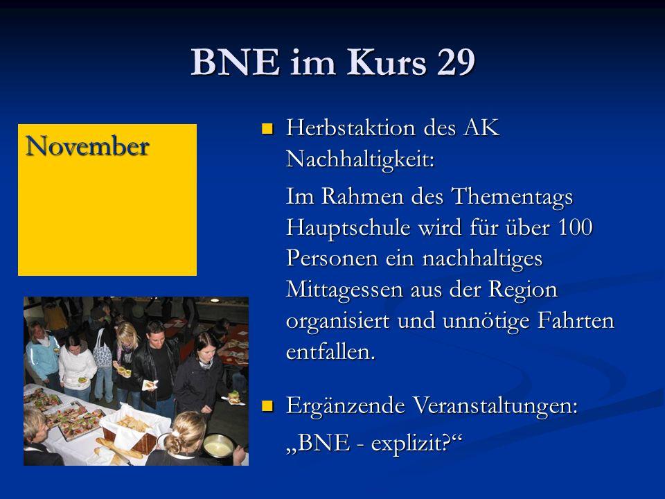 BNE im Kurs 29 November Herbstaktion des AK Nachhaltigkeit: