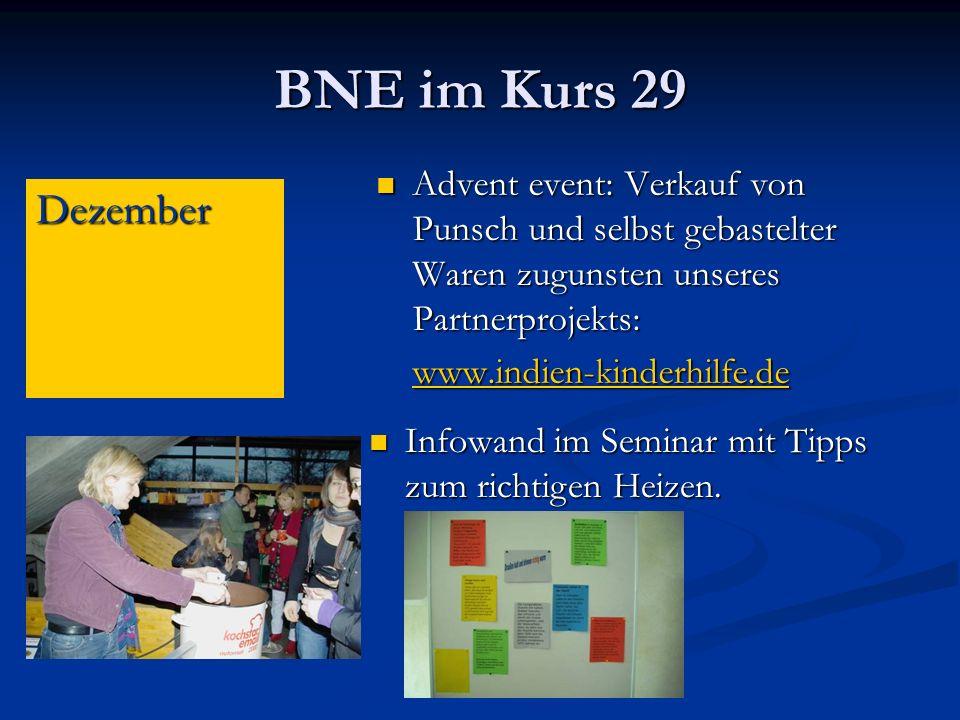 BNE im Kurs 29 Advent event: Verkauf von Punsch und selbst gebastelter Waren zugunsten unseres Partnerprojekts: