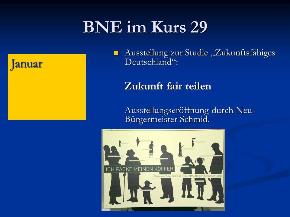 """BNE im Kurs 29 Ausstellung zur Studie """"Zukunftsfähiges Deutschland : Zukunft fair teilen. Ausstellungseröffnung durch Neu-Bürgermeister Schmid."""