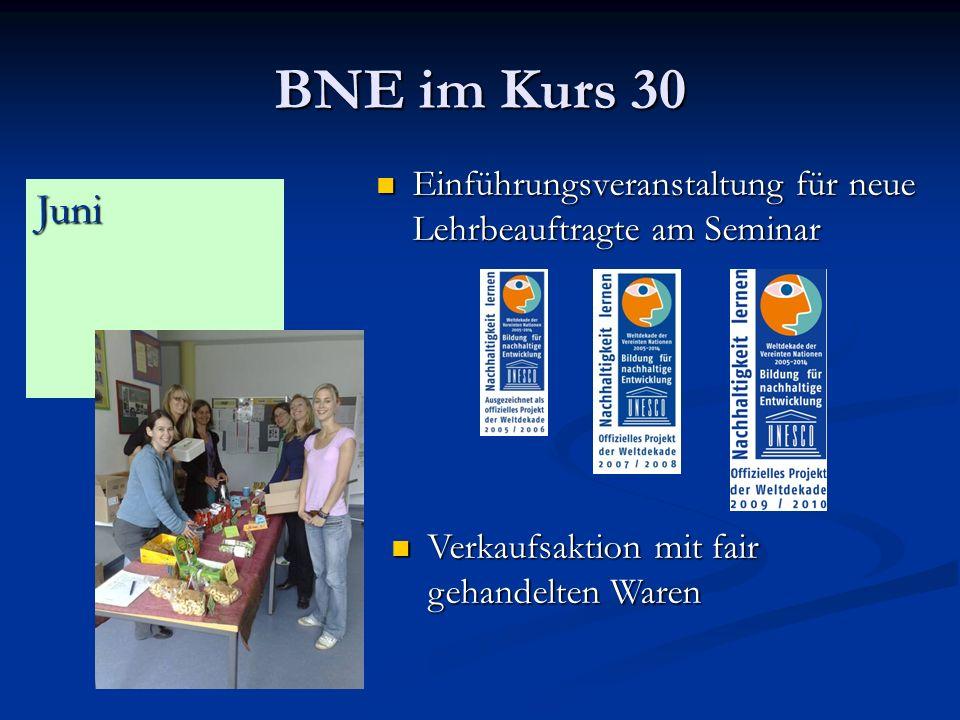 BNE im Kurs 30 Einführungsveranstaltung für neue Lehrbeauftragte am Seminar.