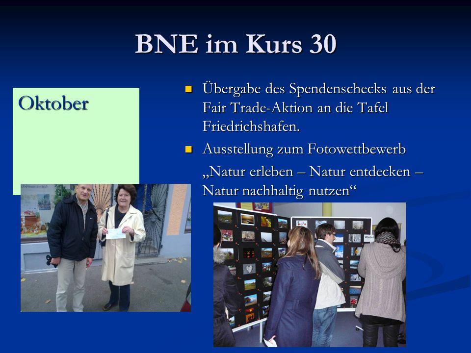 BNE im Kurs 30 Übergabe des Spendenschecks aus der Fair Trade-Aktion an die Tafel Friedrichshafen. Ausstellung zum Fotowettbewerb.
