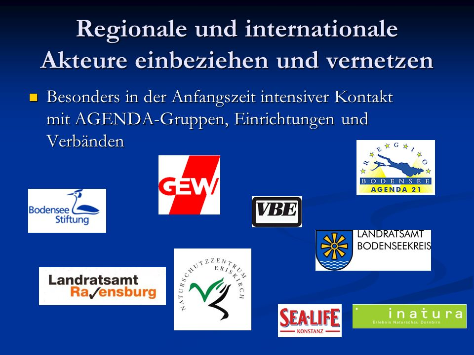 Regionale und internationale Akteure einbeziehen und vernetzen