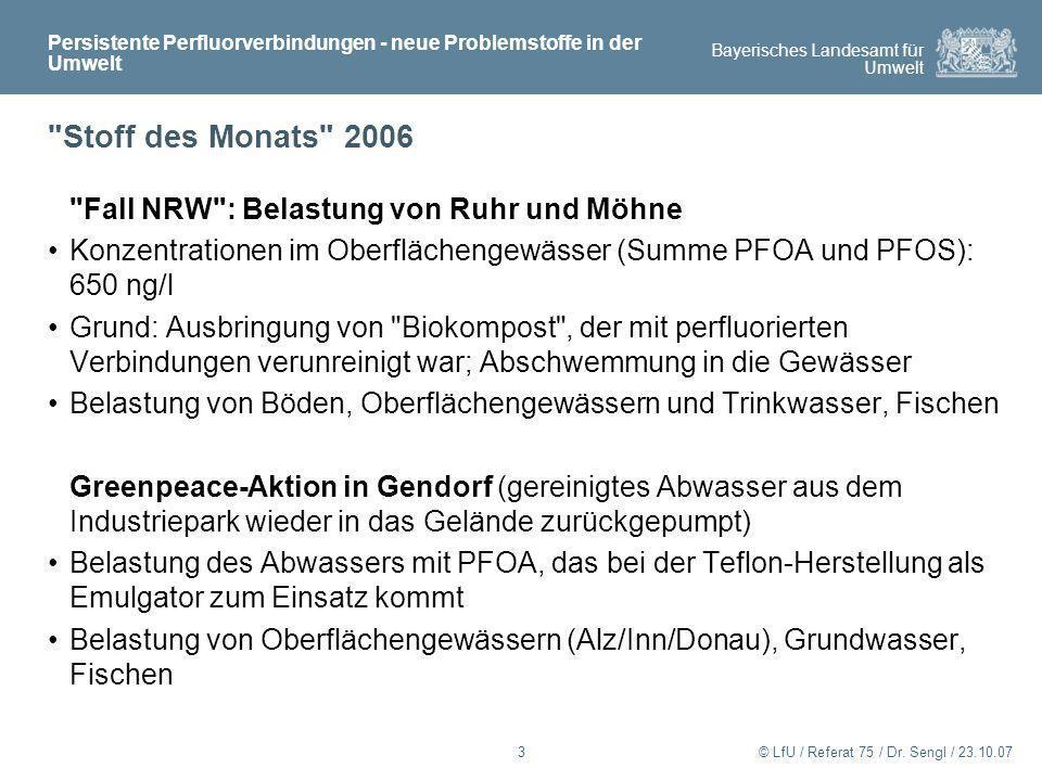 Stoff des Monats 2006 Fall NRW : Belastung von Ruhr und Möhne
