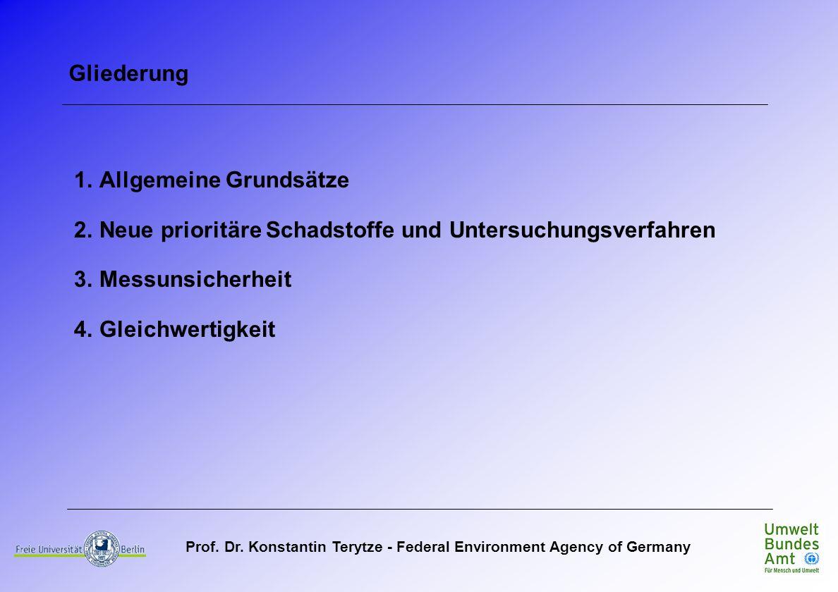 Gliederung Allgemeine Grundsätze. Neue prioritäre Schadstoffe und Untersuchungsverfahren. Messunsicherheit.