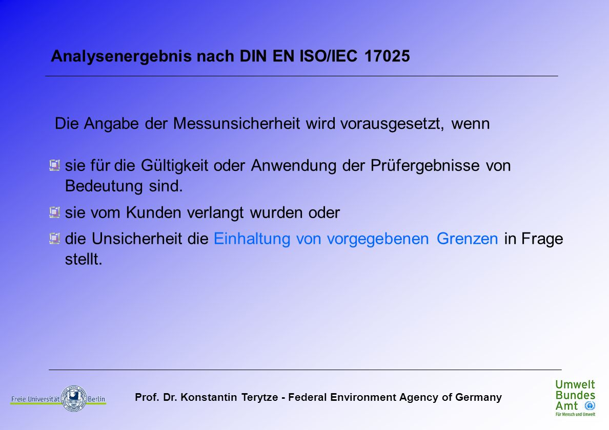 Analysenergebnis nach DIN EN ISO/IEC 17025
