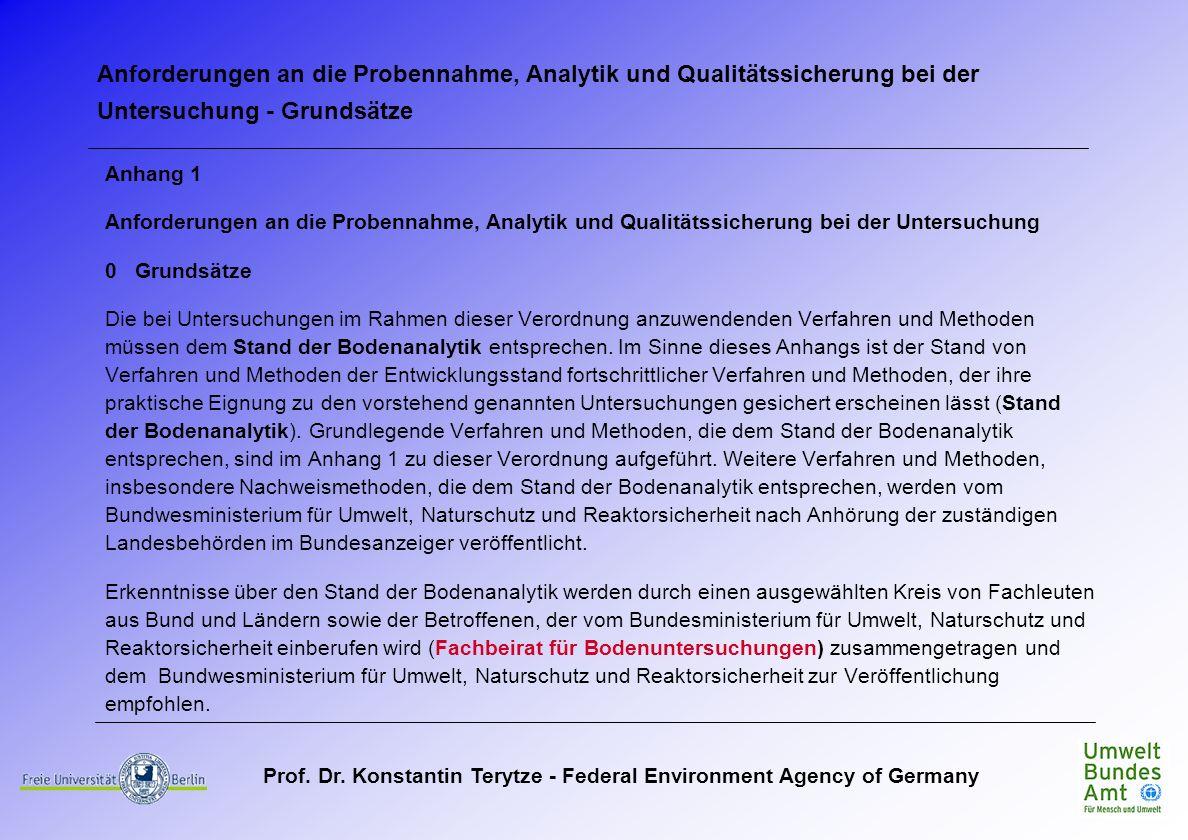 Anforderungen an die Probennahme, Analytik und Qualitätssicherung bei der Untersuchung - Grundsätze
