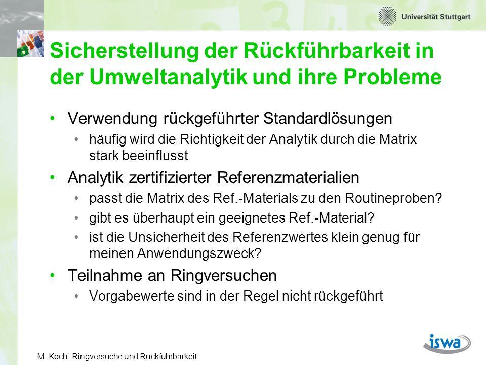 Sicherstellung der Rückführbarkeit in der Umweltanalytik und ihre Probleme