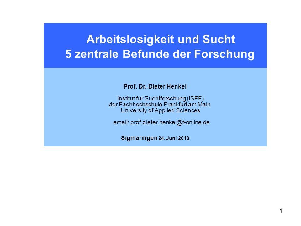 Arbeitslosigkeit und Sucht 5 zentrale Befunde der Forschung