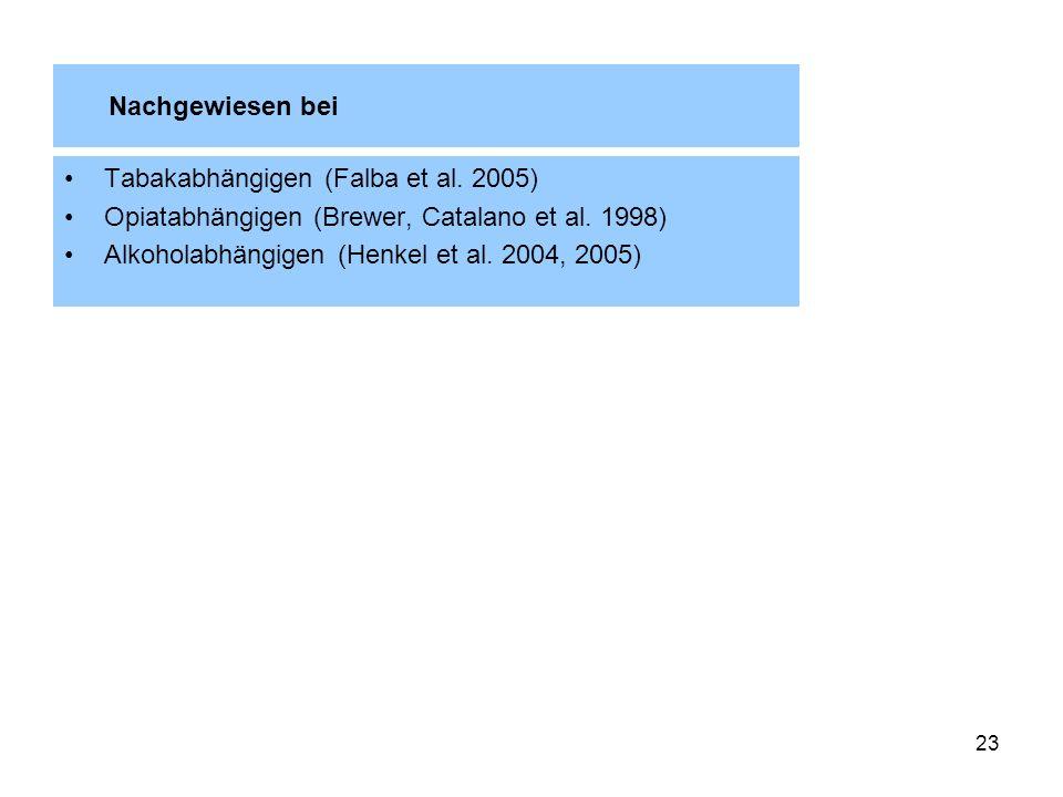 Nachgewiesen bei Tabakabhängigen (Falba et al. 2005) Opiatabhängigen (Brewer, Catalano et al. 1998)