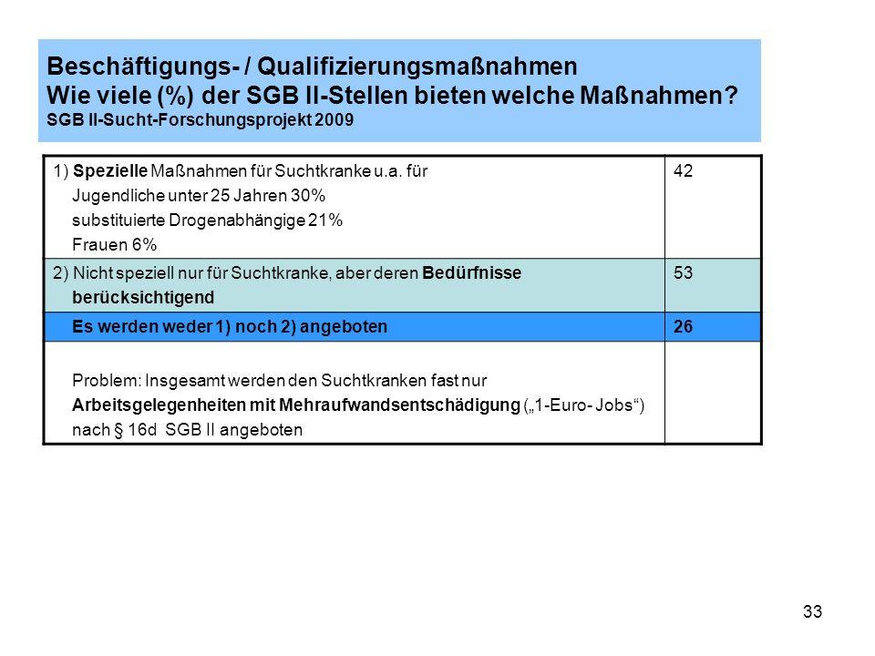 Beschäftigungs- / Qualifizierungsmaßnahmen Wie viele (%) der SGB II-Stellen bieten welche Maßnahmen SGB II-Sucht-Forschungsprojekt 2009