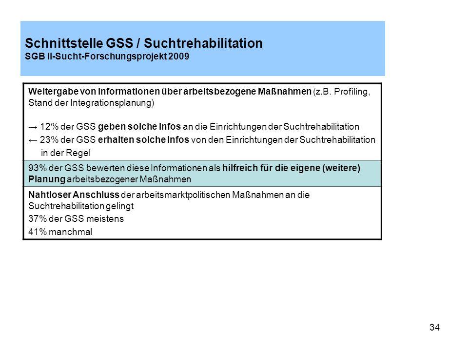 Schnittstelle GSS / Suchtrehabilitation SGB II-Sucht-Forschungsprojekt 2009