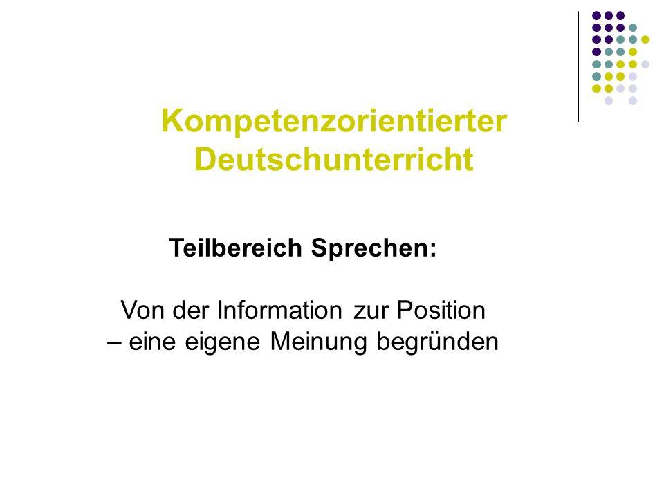 Kompetenzorientierter Deutschunterricht