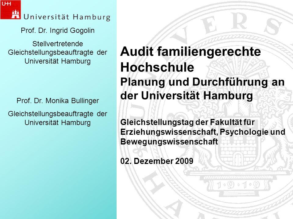 Prof. Dr. Ingrid Gogolin Stellvertretende Gleichstellungsbeauftragte der Universität Hamburg. Prof. Dr. Monika Bullinger.