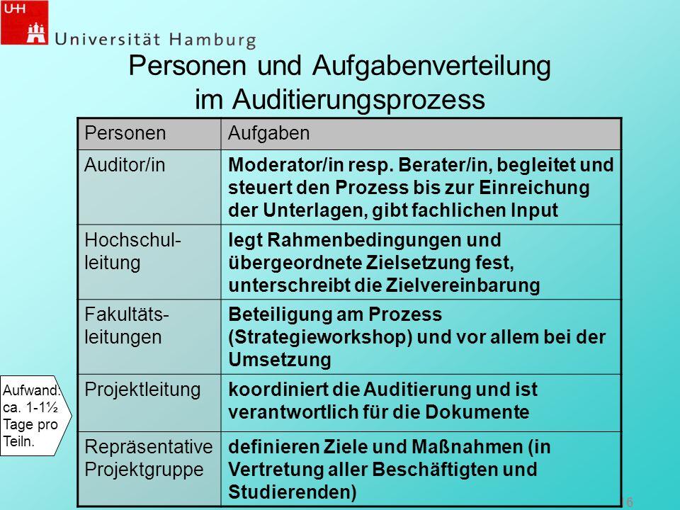 Personen und Aufgabenverteilung im Auditierungsprozess