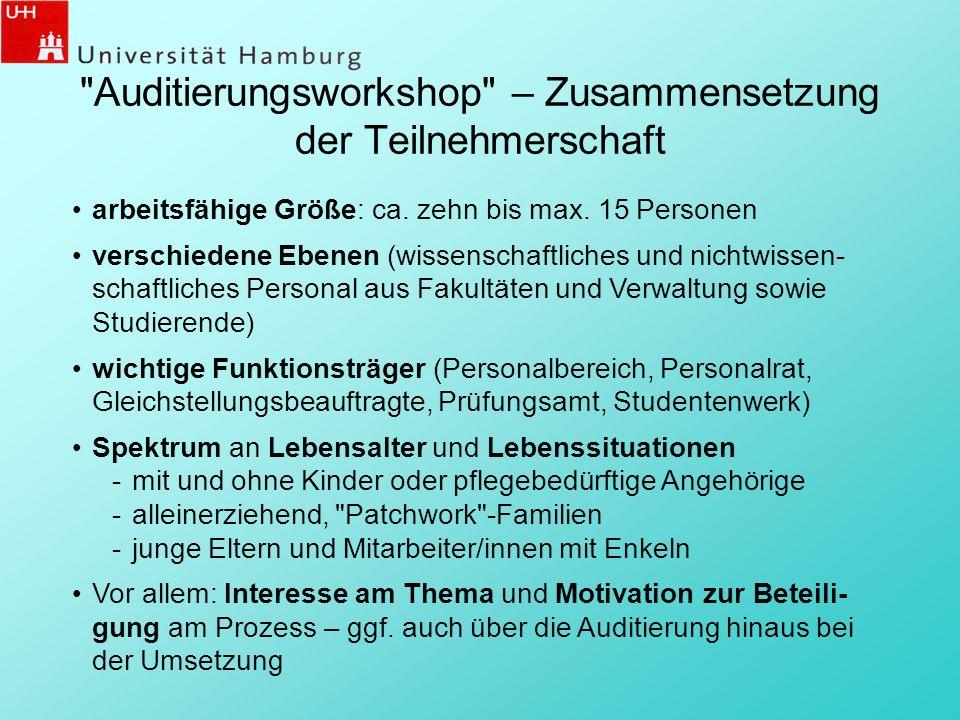 Auditierungsworkshop – Zusammensetzung der Teilnehmerschaft