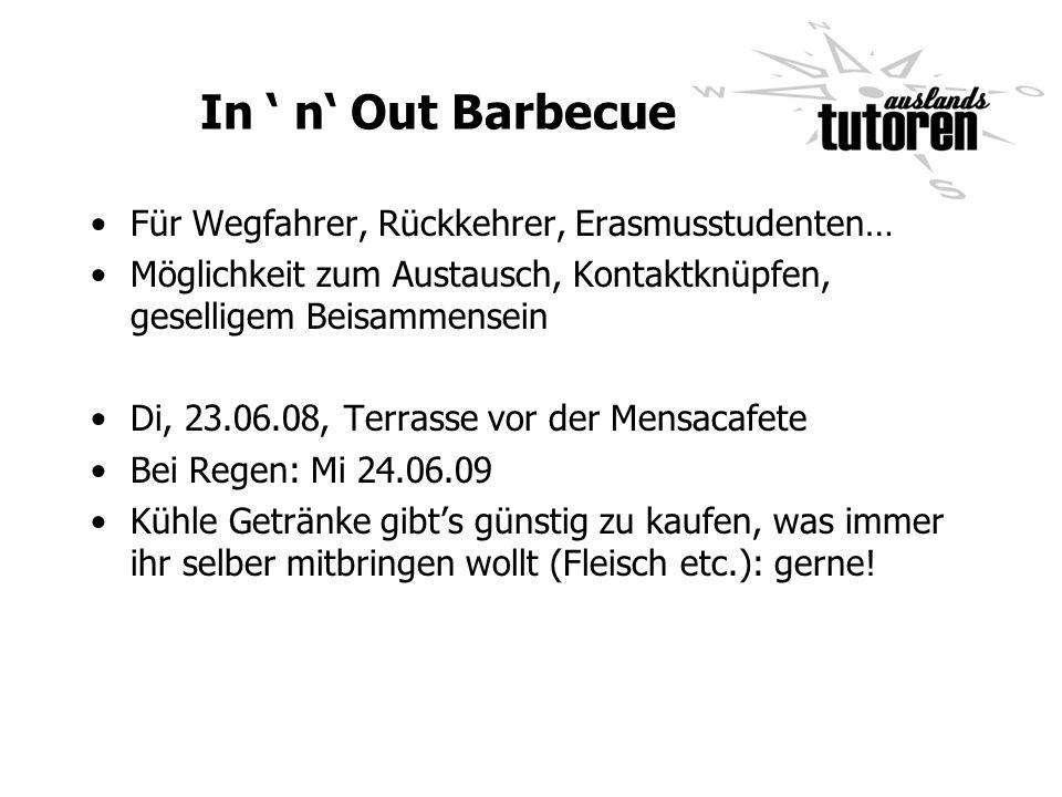 In ' n' Out Barbecue Für Wegfahrer, Rückkehrer, Erasmusstudenten…