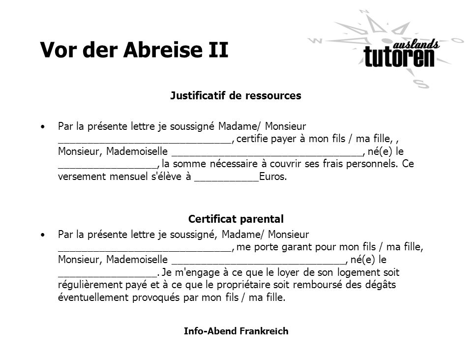 Justificatif de ressources Info-Abend Frankreich