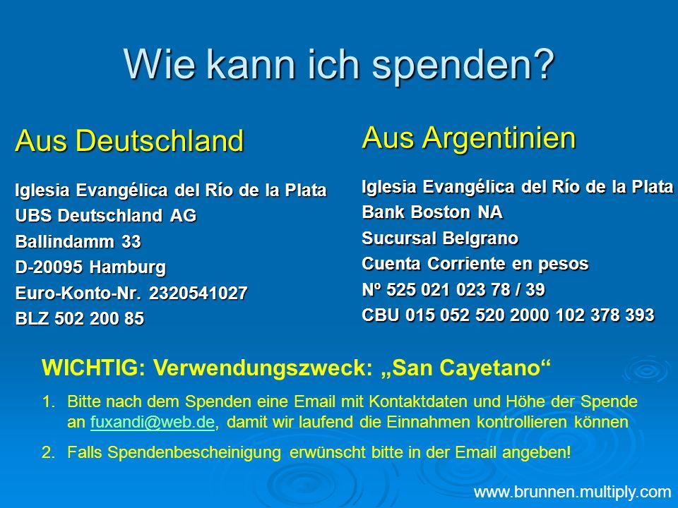 Wie kann ich spenden Aus Argentinien Aus Deutschland