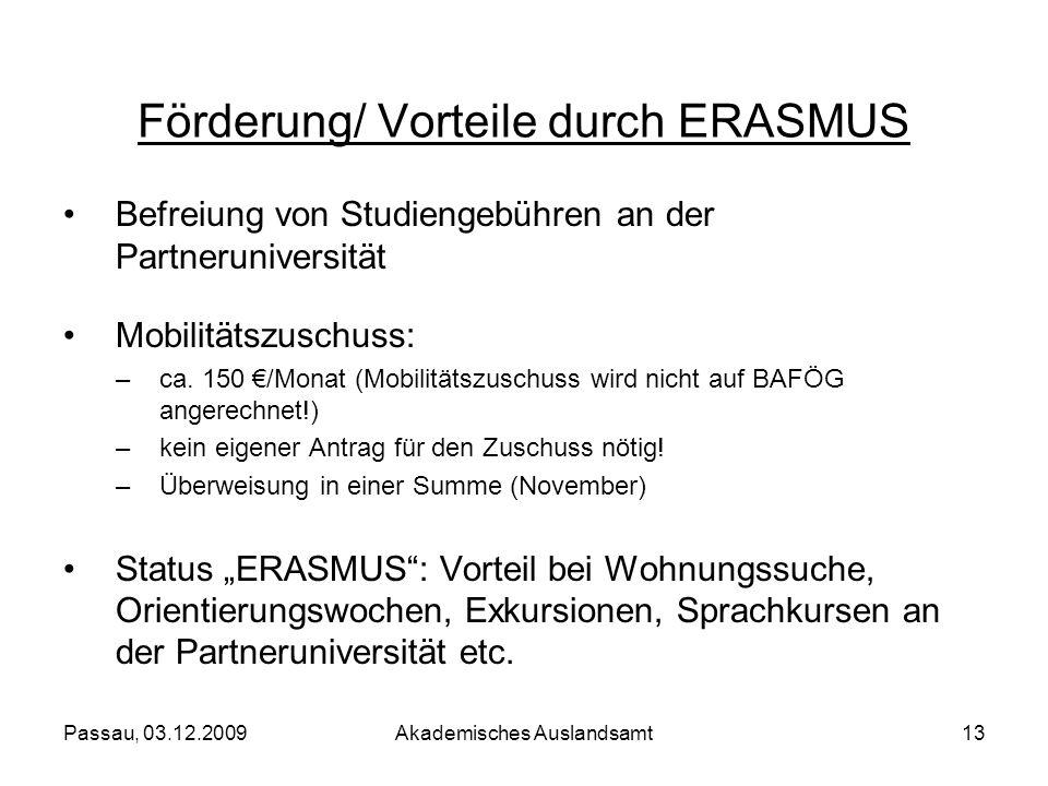 Förderung/ Vorteile durch ERASMUS