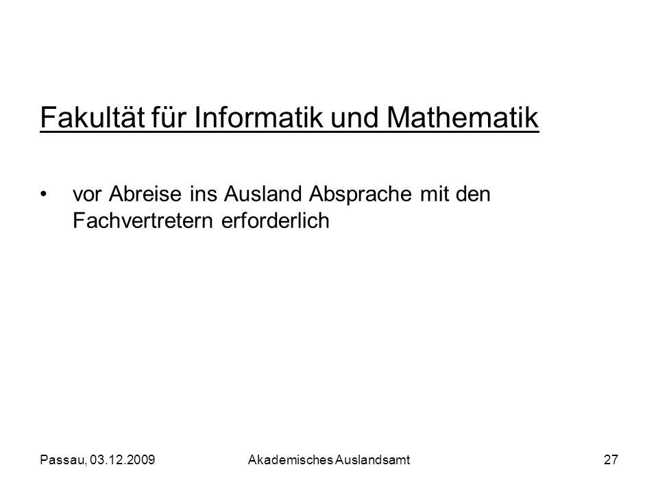 Fakultät für Informatik und Mathematik
