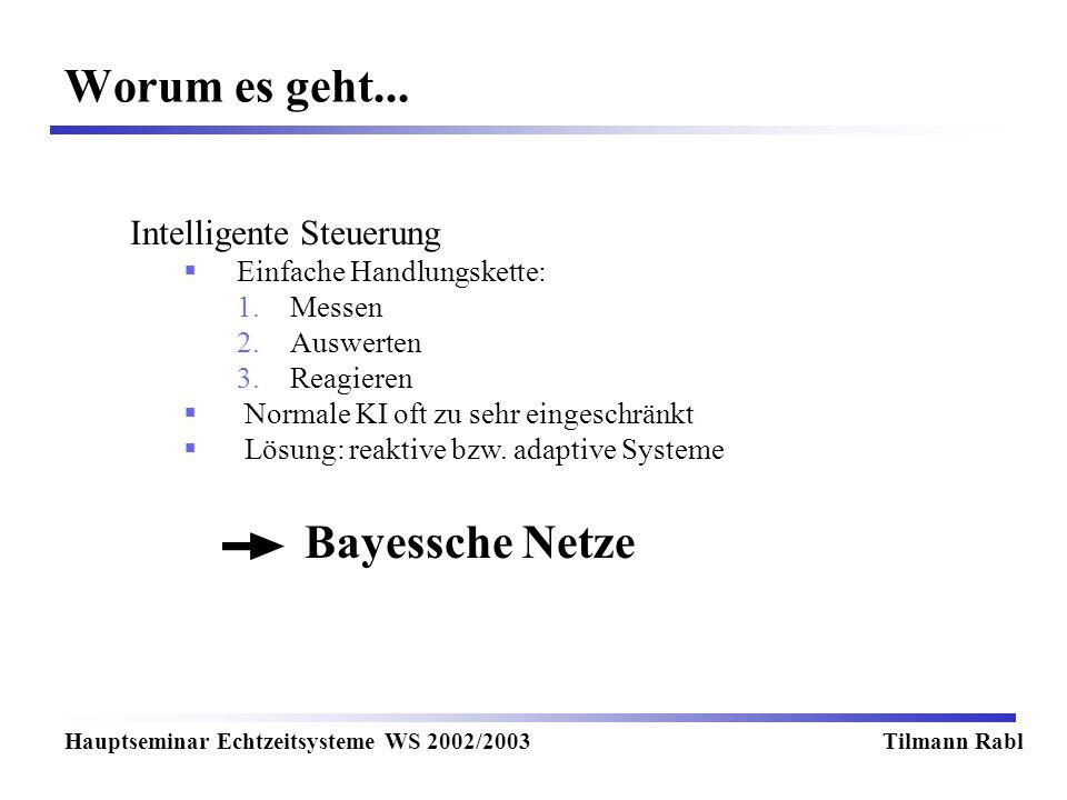 Worum es geht... Bayessche Netze Intelligente Steuerung