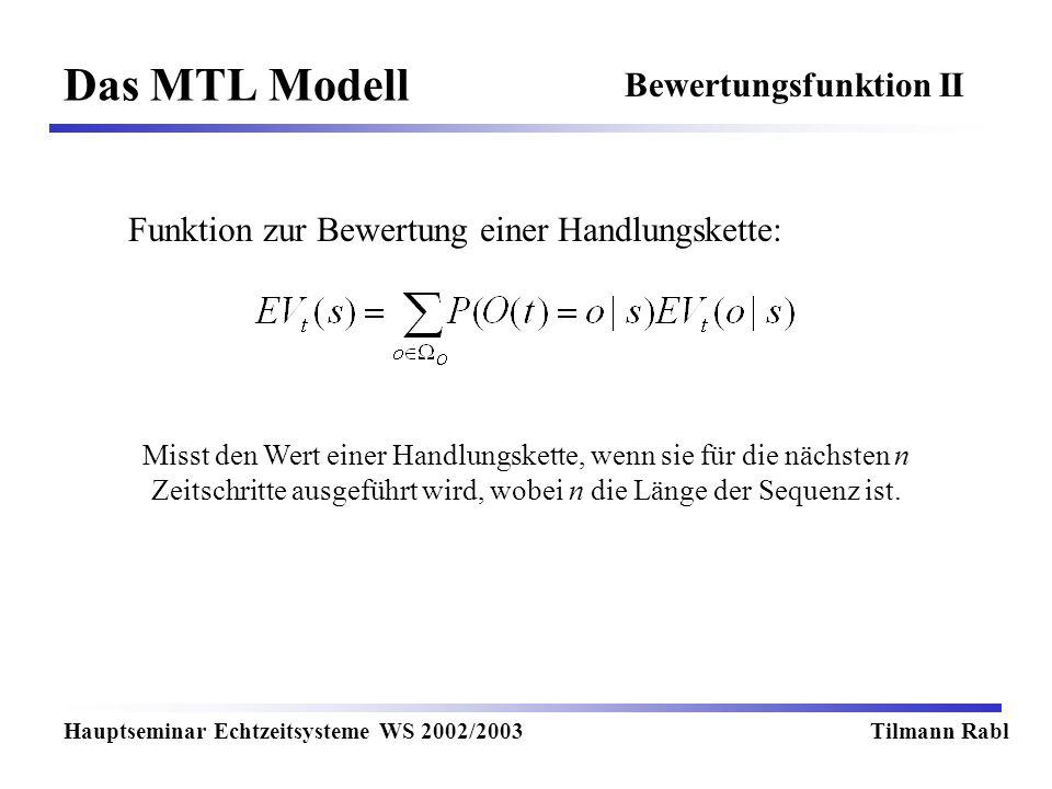Das MTL Modell Bewertungsfunktion II