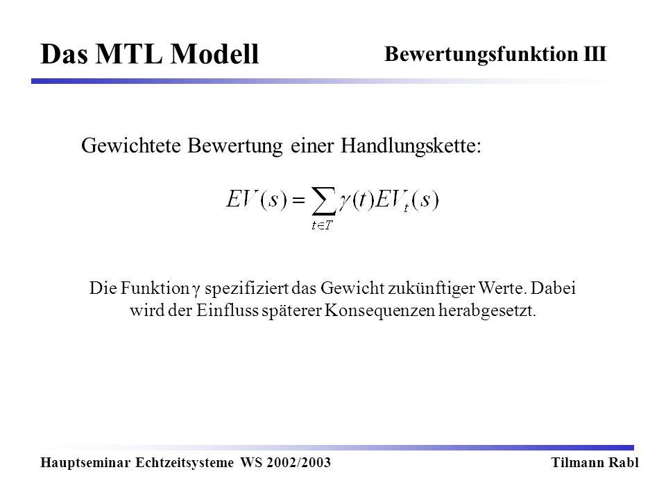 Das MTL Modell Bewertungsfunktion III