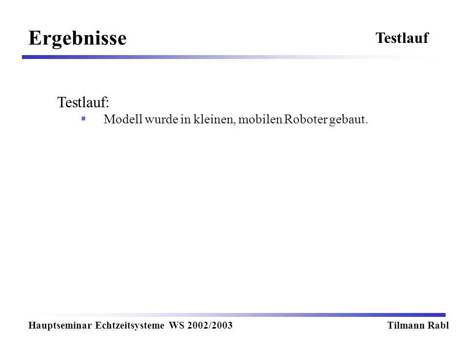 Ergebnisse Testlauf Testlauf: