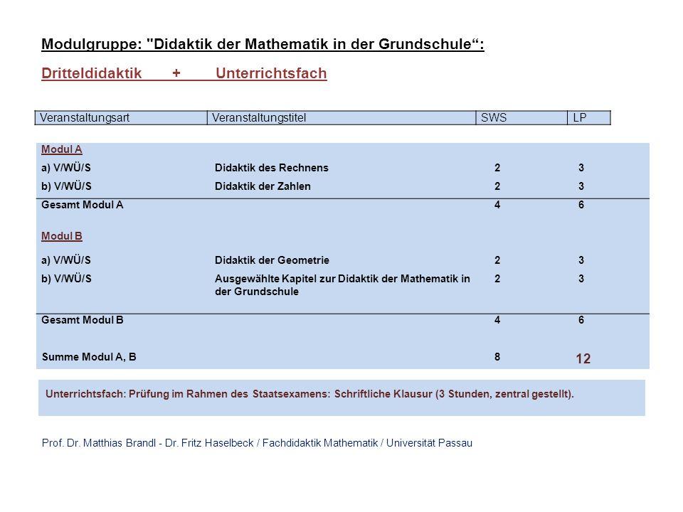 Modulgruppe: Didaktik der Mathematik in der Grundschule :