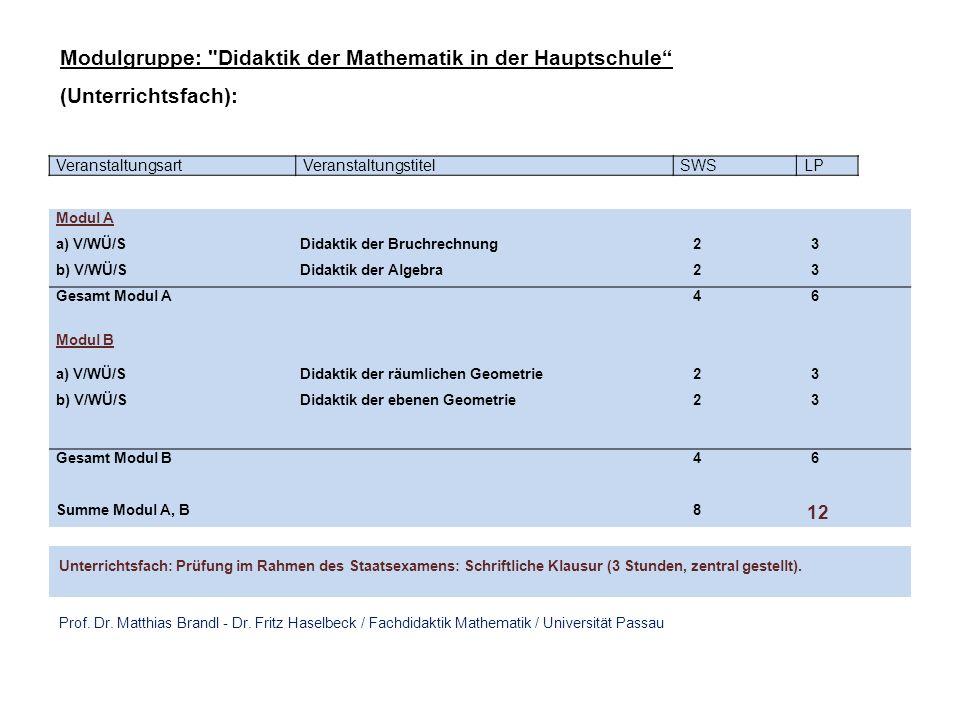 Modulgruppe: Didaktik der Mathematik in der Hauptschule