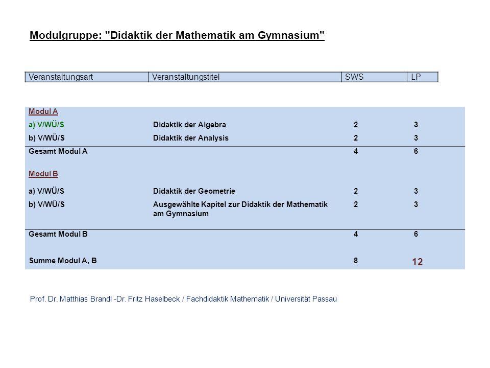 Modulgruppe: Didaktik der Mathematik am Gymnasium
