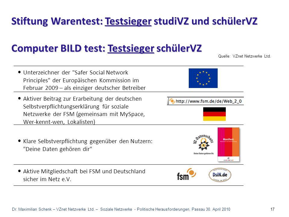 Stiftung Warentest: Testsieger studiVZ und schülerVZ