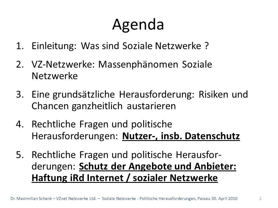 Agenda Einleitung: Was sind Soziale Netzwerke