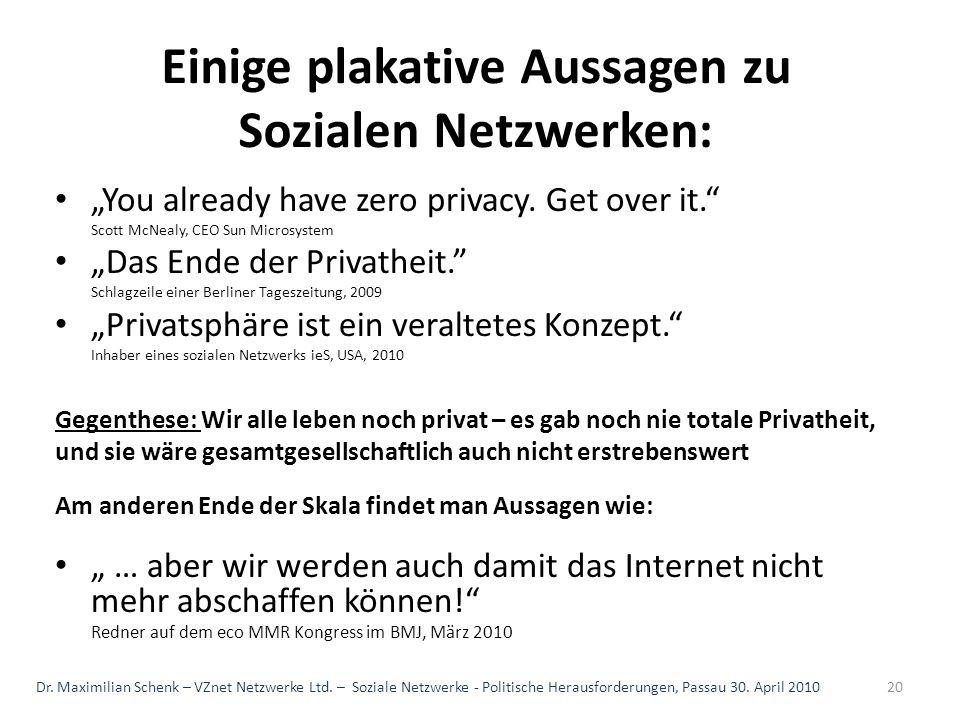 Einige plakative Aussagen zu Sozialen Netzwerken:
