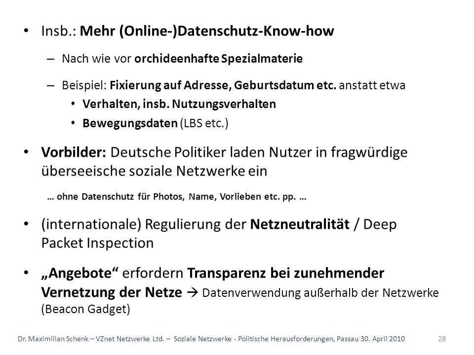 Insb.: Mehr (Online-)Datenschutz-Know-how