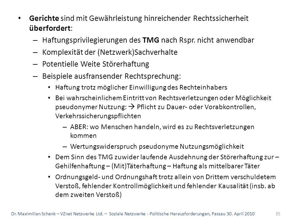 Haftungsprivilegierungen des TMG nach Rspr. nicht anwendbar