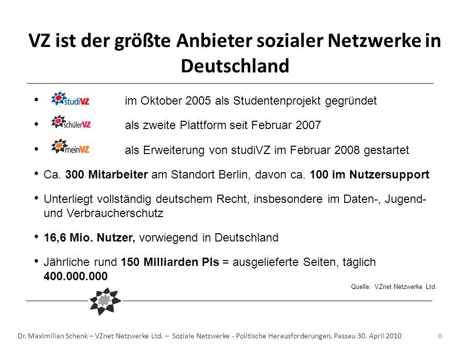 VZ ist der größte Anbieter sozialer Netzwerke in Deutschland