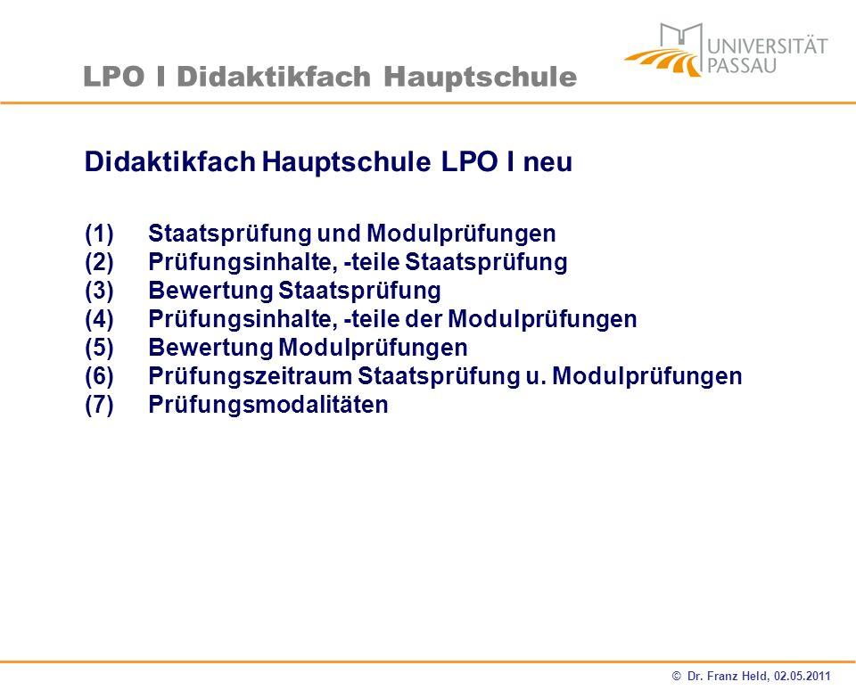 Didaktikfach Hauptschule LPO I neu