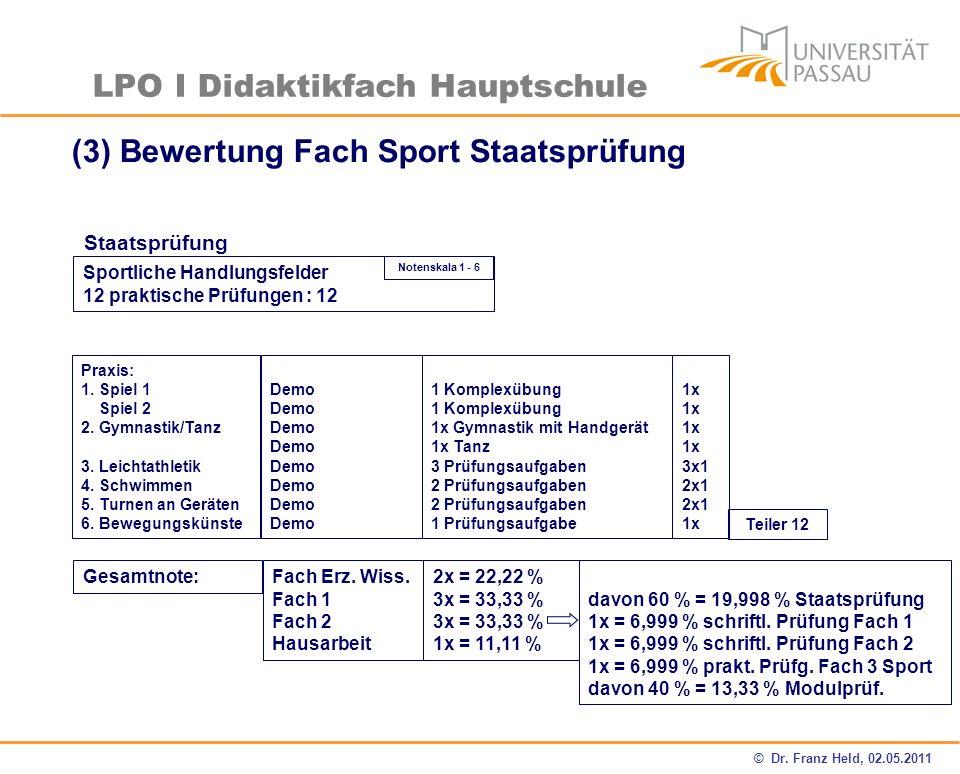(3) Bewertung Fach Sport Staatsprüfung