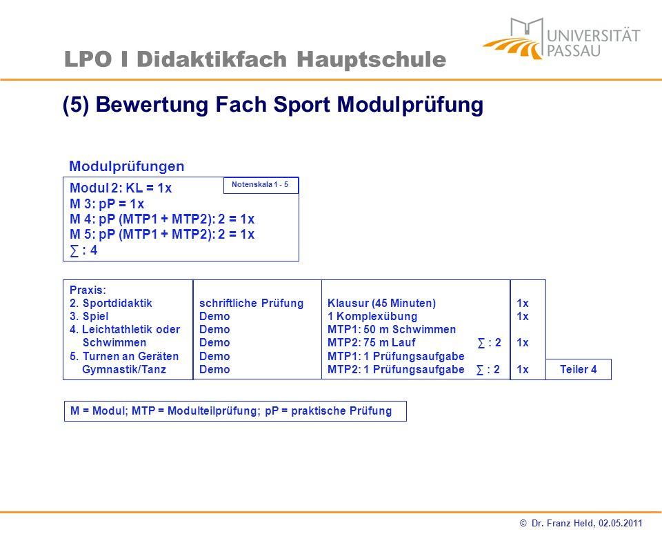 (5) Bewertung Fach Sport Modulprüfung