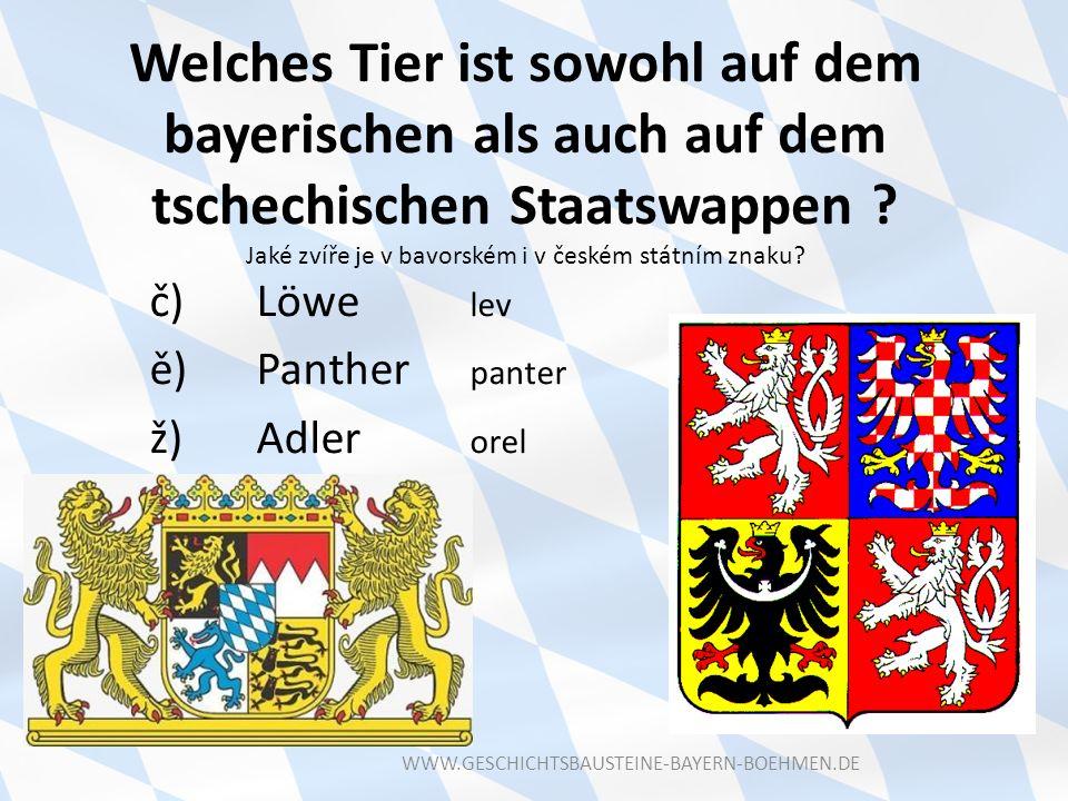 Welches Tier ist sowohl auf dem bayerischen als auch auf dem tschechischen Staatswappen Jaké zvíře je v bavorském i v českém státním znaku