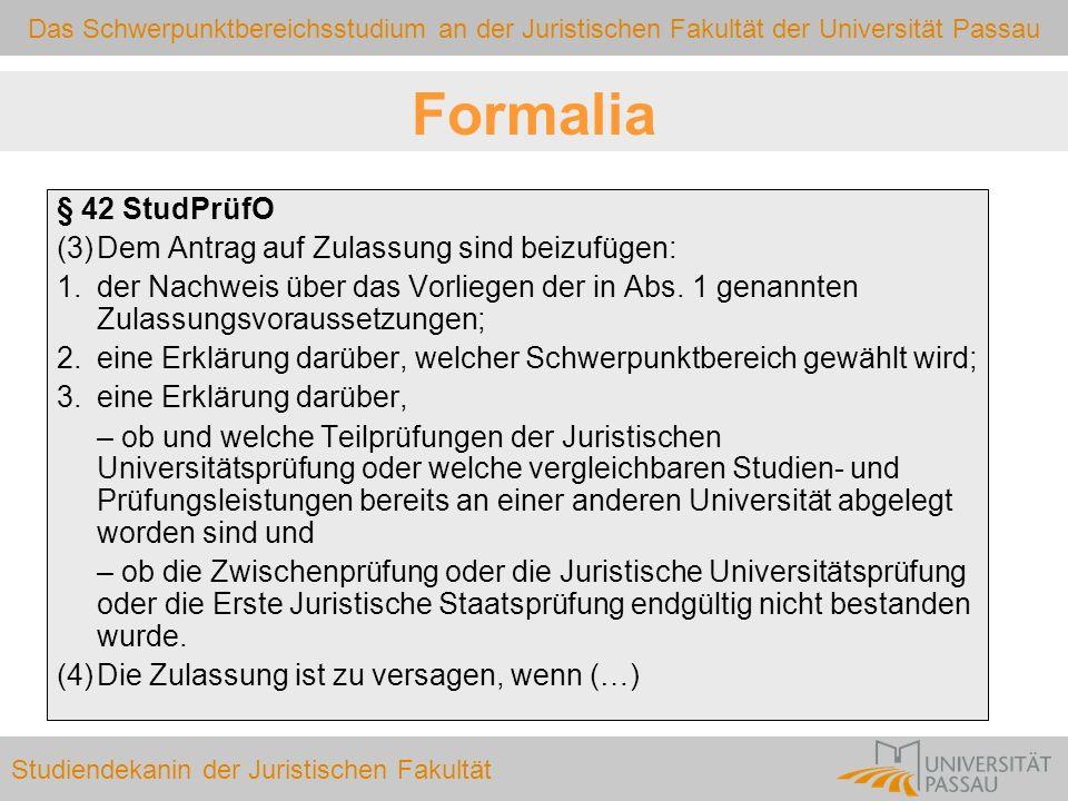 Formalia § 42 StudPrüfO (3) Dem Antrag auf Zulassung sind beizufügen: