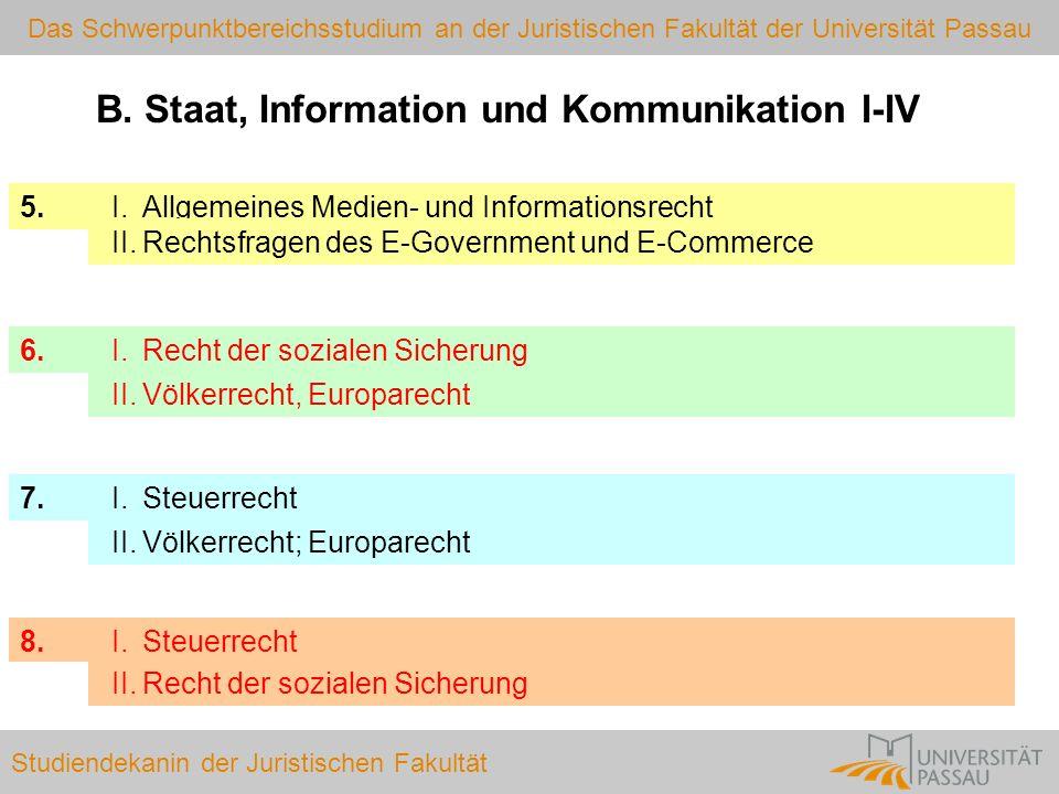 B. Staat, Information und Kommunikation I-IV