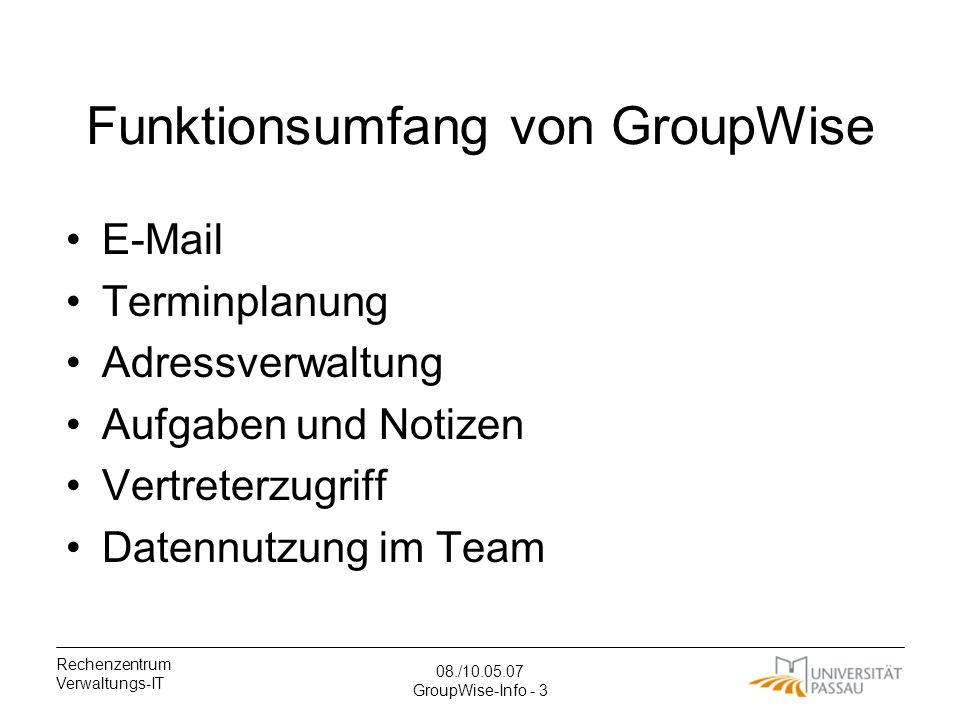 Funktionsumfang von GroupWise