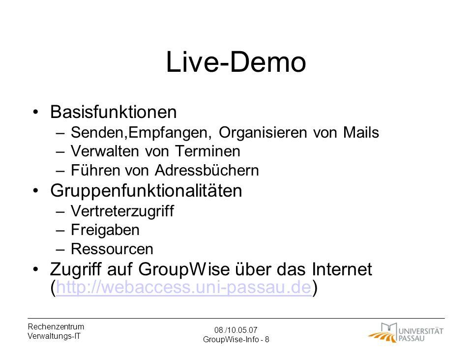 Live-Demo Basisfunktionen Gruppenfunktionalitäten