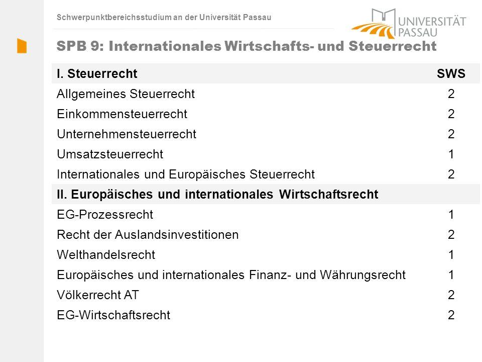 SPB 9: Internationales Wirtschafts- und Steuerrecht
