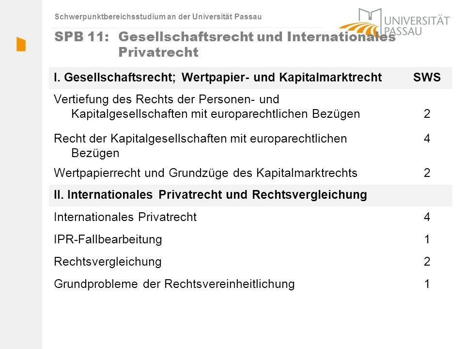 SPB 11: Gesellschaftsrecht und Internationales Privatrecht