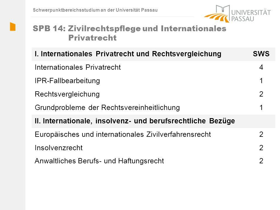 SPB 14: Zivilrechtspflege und Internationales Privatrecht